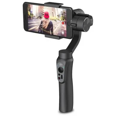 Gearbest Zhiyun Smooth Q 3-axis Stabilization Gimbal - JET BLACK 5V 2000mA USB Output / Quick Focus Adjustment / 220g Payload Support
