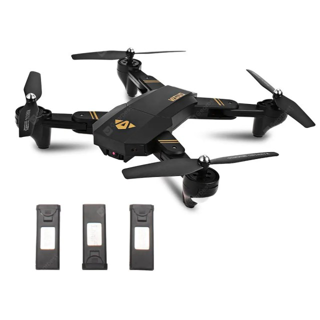 Gearbest TIANQU XS809W Foldable RC Quadcopter - RTF - BLACK WITH THREE BATTERIES, 2MP CAMERA + AIR PRESS ALTIT