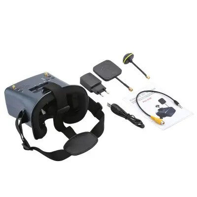 Gearbest Shinehalo New Arrivial LS-008D 5.8G 40CH 2000mA Built-in Battery DVR Diversity FPV Goggles For RC Model - BLACK