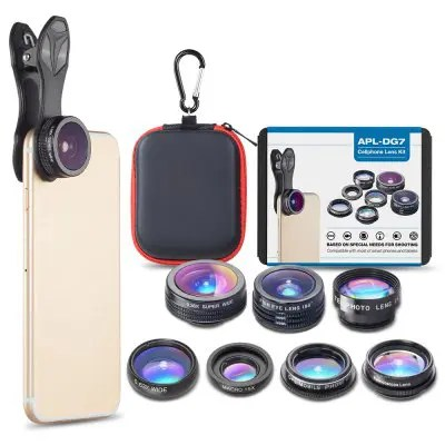 Gearbest APEXEL APL-DG7 7 in 1 Cell Phone Camera Lens Kit Universal Clip 0.36X Wide Angle Macro Fisheye Telephoto Lens - BLACK