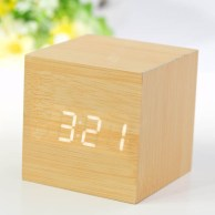 Novel Square Wooden Clock with White Numeral LED Light - Earthy