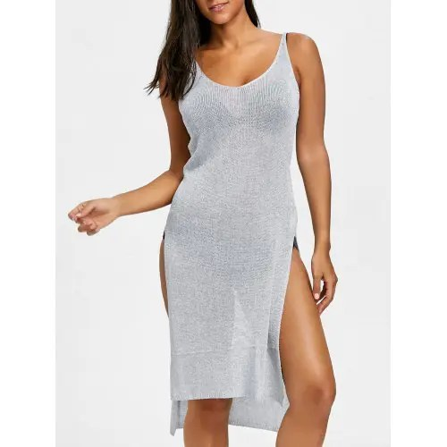 Knitted Slit Cami Cover Up Dress