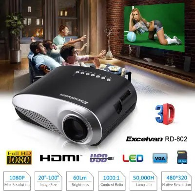 Gearbest Excelvan Home Theater LED LCD Projector - BLACK EU PLUG