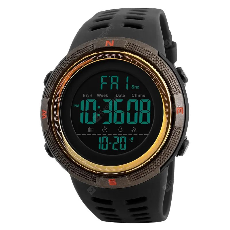 SKMEI 1251 Men Sports Watches Countdown Double Time Alarm Chrono Digital Wristwatch 12Jul
