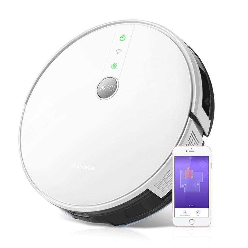 Gearbest Alfawise V8S PRO E30B Robot Vacuum Cleaner Smart Mopping Voice Control Supports Google Home Amazon Alexa - Standard White