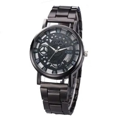 V5 Men Fashion Personality Hollow Steel Band Quartz Watch