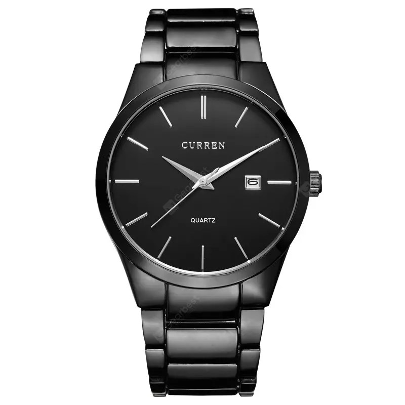 Gearbest CURREN Sports Wristwatch Date Men's Quartz Business Watch - BLACK