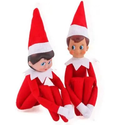 2Pcs Christmas Elf Toy Plush Dolls One Set (Red Boy and Girl) for Christmas Gift