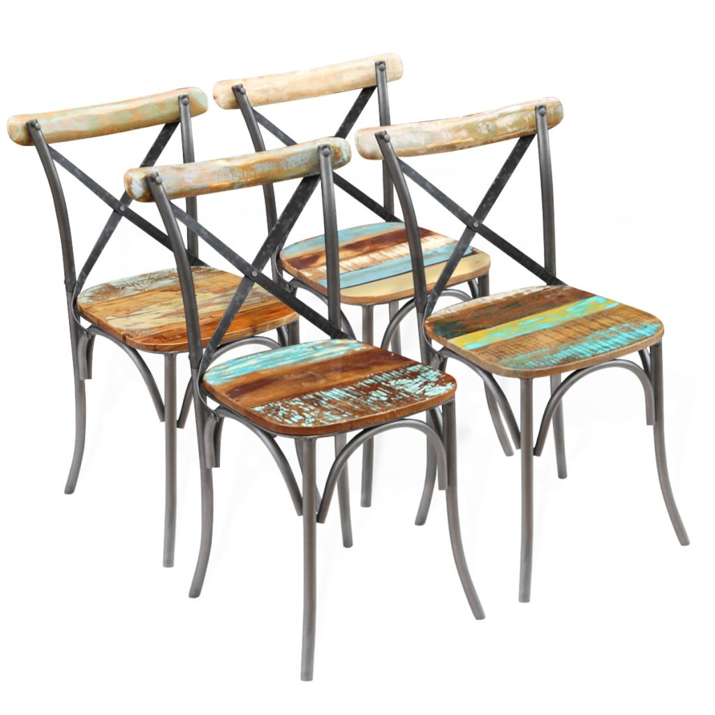 Dining Chairs 4 Pcs Solid Reclaimed Wood Sale Price Reviews Gearbest