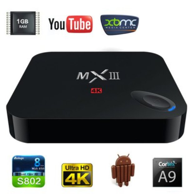 MXIII M82 Amlogic S802 Quad - Core KitKat Cortex - A9 Android 4.4 WiFi TV Box Media Hub 1GB RAM 8GB ROM Support HDMI OTG AV Input - EU Plug  -  EU PLUG  BLACK  Цена €41.52