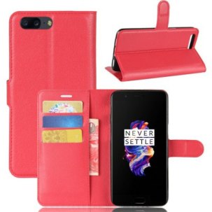 PU Leather Lichee Grain Wallet Phone Case for OnePlus 5