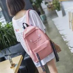 Simple Wild School Bag Female Version Harajuku Ulzzang High Student Campus Nylon Shoulders Backpack Travel -