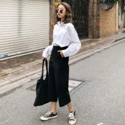 Real Shot Woolen Thickening Wide Leg Pants Student Harajuku Nine Points Straight Cylinder Casual -
