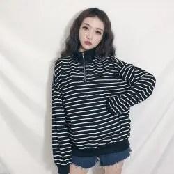 Version Harajuku Stripes Zipper Boss Hedging Sweater Loose Long Sleeves Coat -