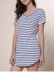 Summer Casual Striped Dress With Sleeves - WHITE M