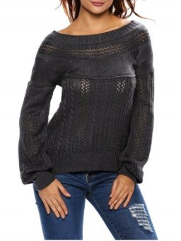 Outfit Semi Sheer Cable Knit Hollow Out Sweater BLACK M
