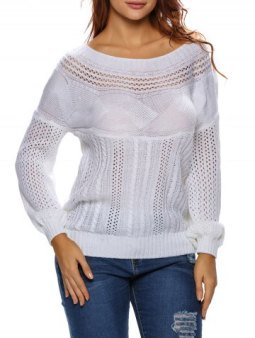 Chic Semi Sheer Cable Knit Hollow Out Sweater WHITE XL
