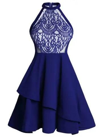 Trendy Lace Panel Flounce Skater Cocktail Dress BLUE L