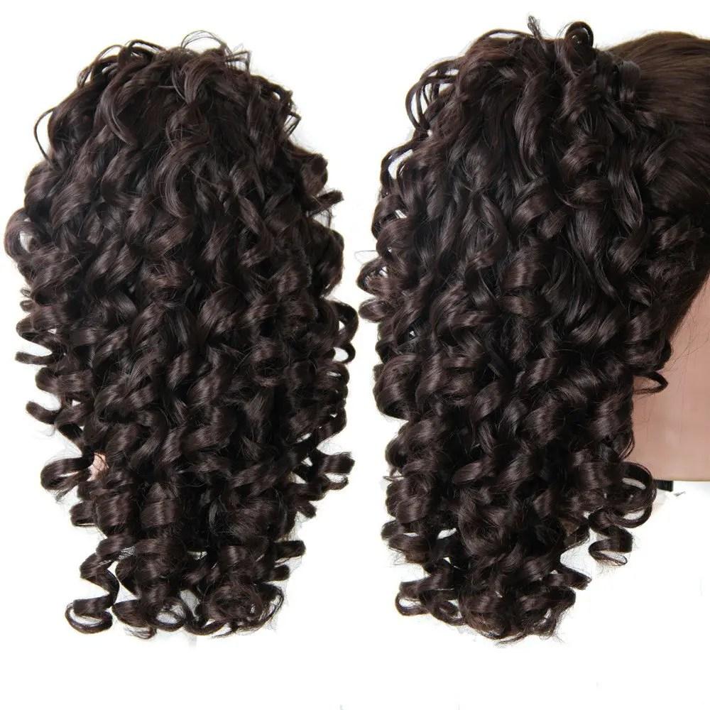 2019 Shaggy Medium Kinky Curly Ponytail Hair Pieces