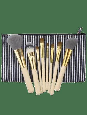 Hot Portable 8Pcs Multipurpose Makeup Brushes Kit and Bag BLACK