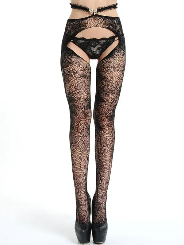 Store Lace Crotchless Fishnet Tights