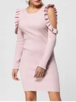 Frill Trim Cold Shoulder Jumper Dress - LIGHT PINK S