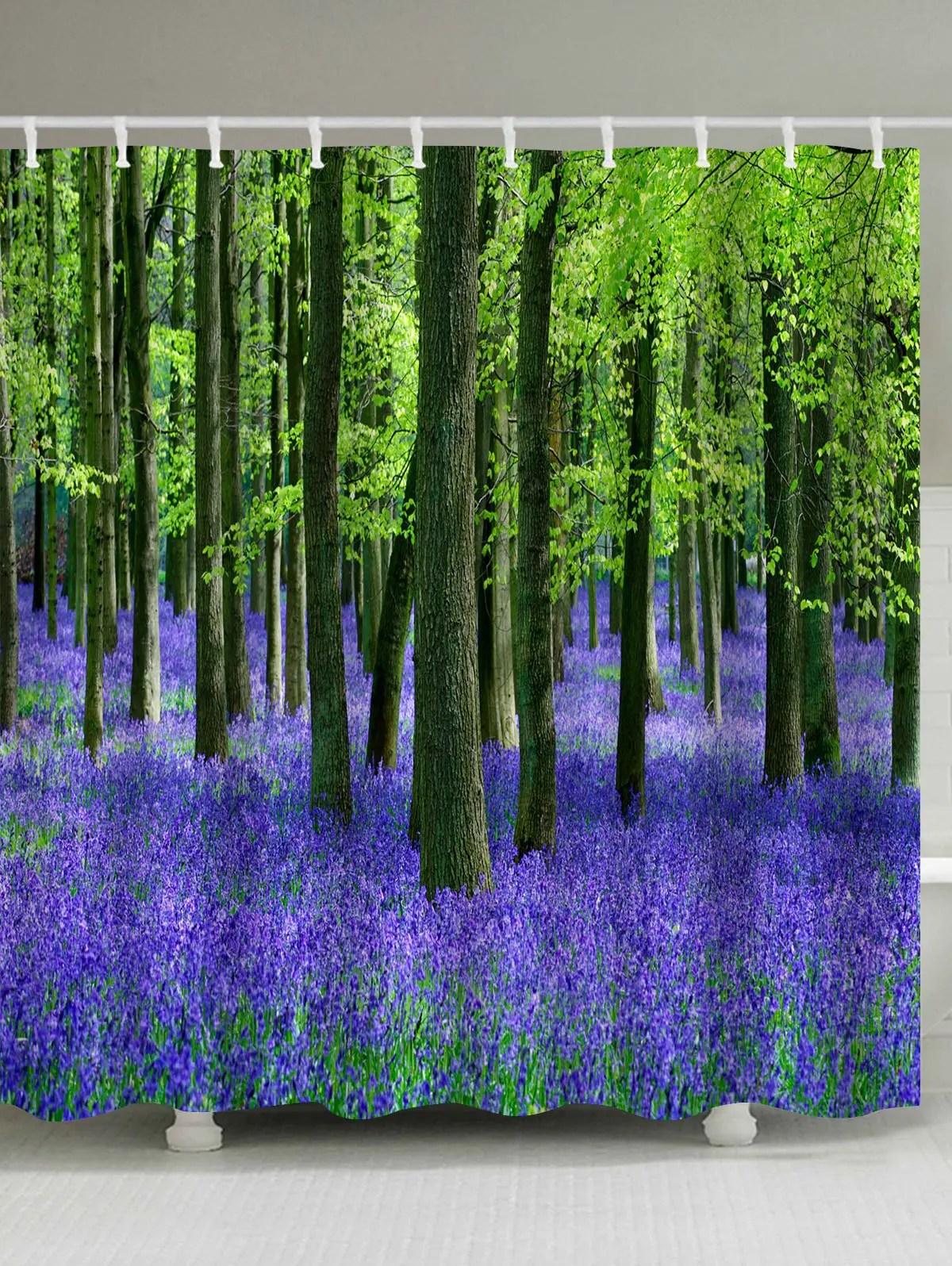 Lavender Forest Print Fabric Waterproof Bathroom Shower Curtain
