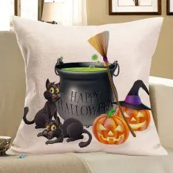 Halloween Cats Pumpkins Happy Party Printed Pillow Case - COLORFUL W18 INCH * L18 INCH