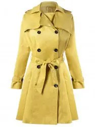 Double Breasted Tie Belt Trench Coat