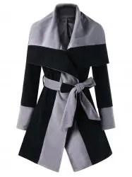 Wrap Color Block Lapel Coat