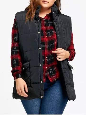 Button Up Plus Size Cotton Padded Vest