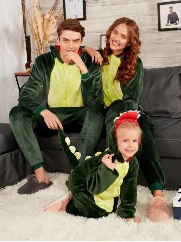 Dinosaur Animal Onesie Matching Family Christmas Pjs
