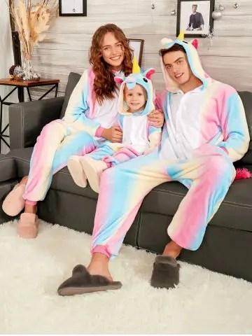 Rainbow Unicorn Animal Christmas Family Onesie Pajamas