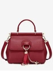Metal Leather Pentagram Handbag -