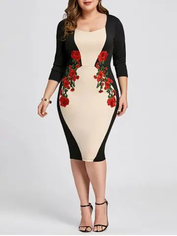 Plus Size Embroidered Bodycon Dress