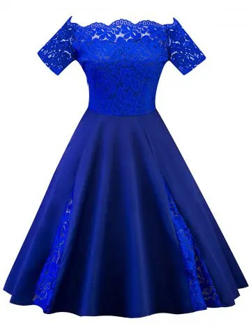 Royal Blue 5xl Lace Panel Off The Shoulder Plus Size Dress