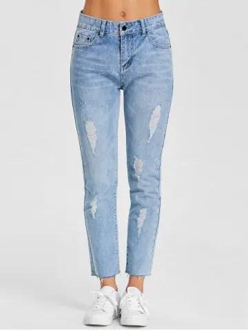 Hot Raw Hem Distressed Denim Jeans