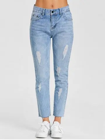 Hot Raw Hem Distressed Denim Jeans