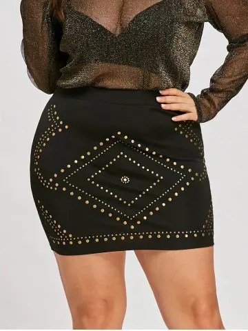 Firstgrabber Plus Size High Waist Mini Skirt with Rivet
