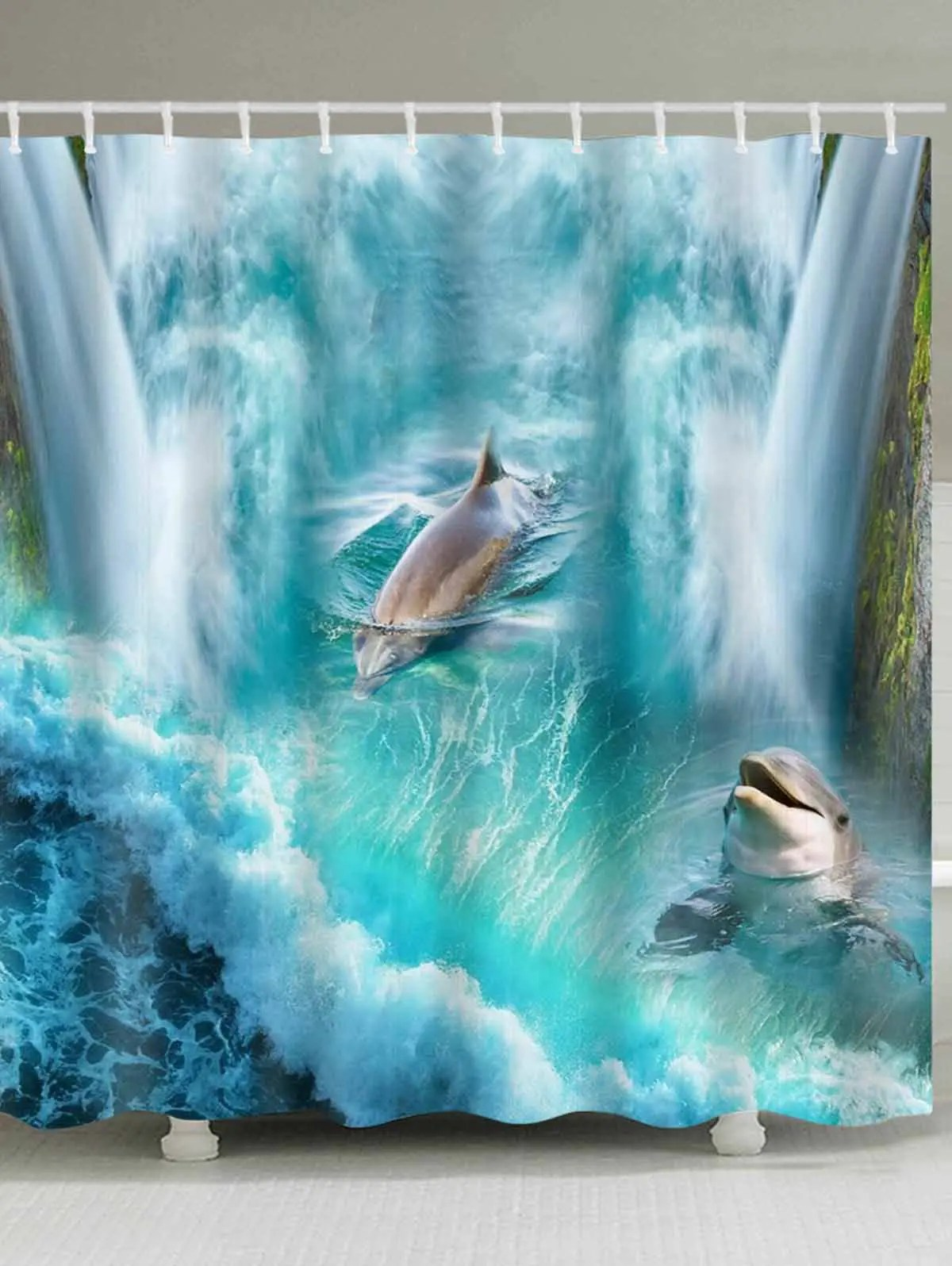 3d Dolphin Waterfall Print Shower Curtain Bathroom Decor