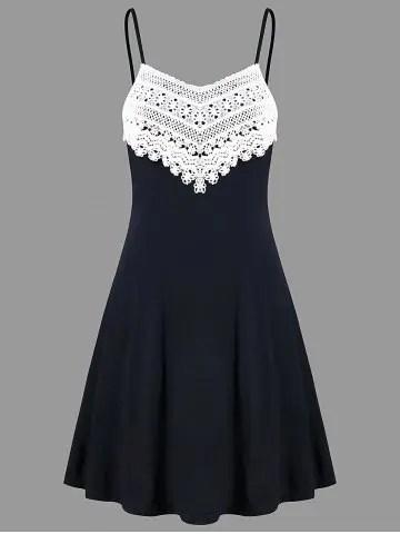 Crochet Lace Panel Mini Slip Dress - BLACK - 2XL