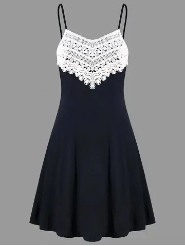 Crochet Lace Panel Mini Slip Dress - BLACK - 2XL