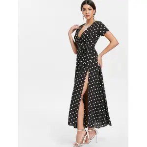 Risultati immagini per https://www.rosegal.com/maxi-dresses/polka-dot-long-surplice-dress-2255130.html