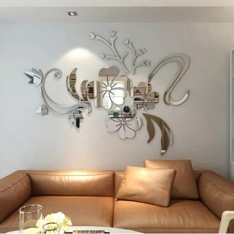 Wall Decor   Cheap Bedroom Wall Decor And Wall Decorations For Sale     3D Stereo Flower Wall Mirror Wall Stickers