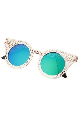 Chic Hollow Out Golden Mesh Sunglasses For Women