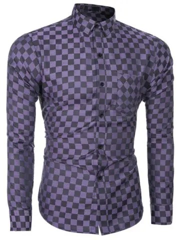 Long Sleeve Grid Pattern Shirt