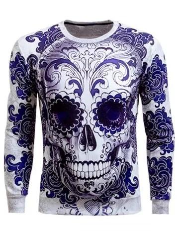 Long Sleeve Skull 3D Printed Sweatshirt