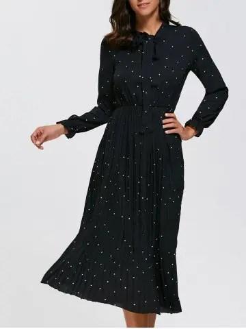 Polka Dot Midi Pleated Dress