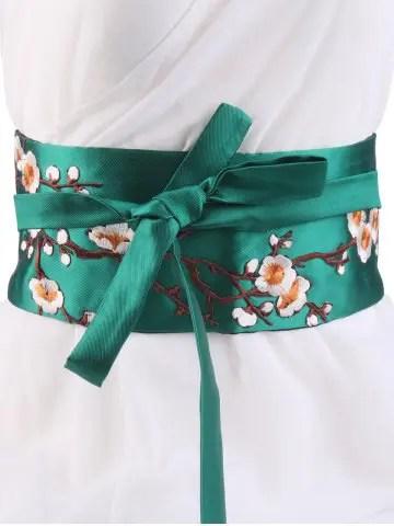 Wintersweet Embroidery Kimono Bowknot Waistbelt - GREEN