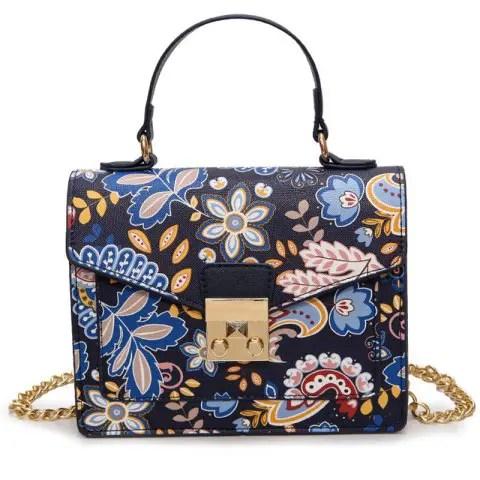 Metal Detail Print Handbag - BLUE